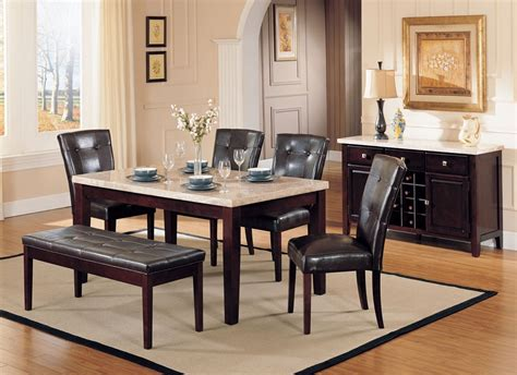 white marble top dining table set espresso pu