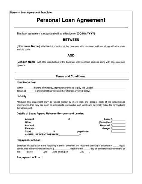 Cool Business Loans Private Loan Agreement Template Free Free Printable Documents Printables I Owe You Contract Template