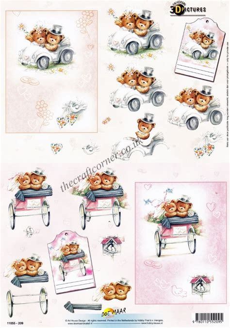 3d Decoupage Pictures - wedding day teddy bears 3d decoupage craft sheet