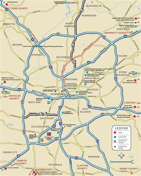atlanta georgia surrounding area map atlanta area map