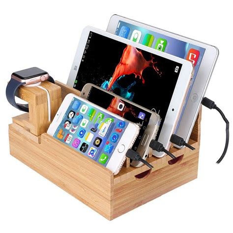 home cell phone charging station universal cell phone tablet pc holder bamboo charging