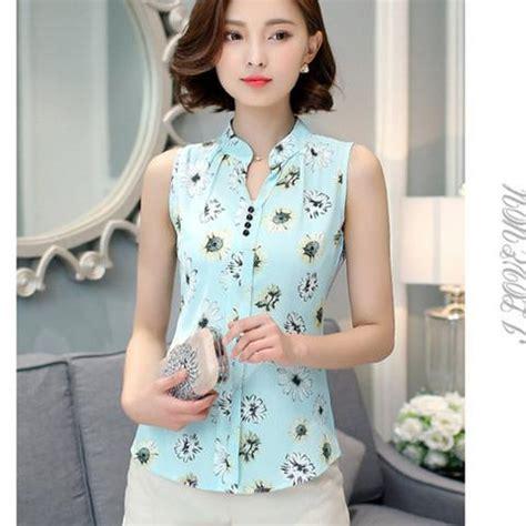 Dress Office Tanpa Lengan blusas wanita chiffon femininas tanpa lengan floral print