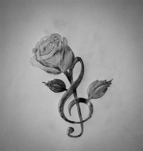 rose and music tattoo clef by eviidence on deviantart
