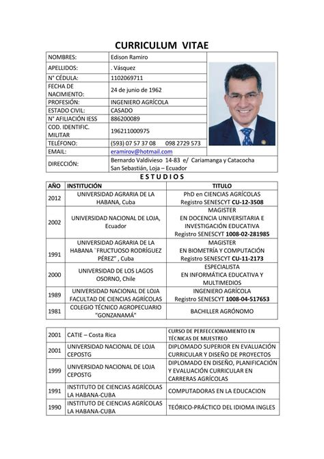 Modelo Curriculum Vitae Ingeniero Agronomo Edison Ramiro V 225 Squez By Consejo Eduacaci 243 N Superior Issuu