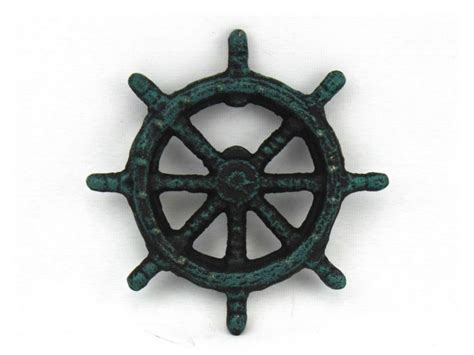 Cast Iron Decor by Wholesale Seaworn Blue Cast Iron Ship Wheel Bottle Opener