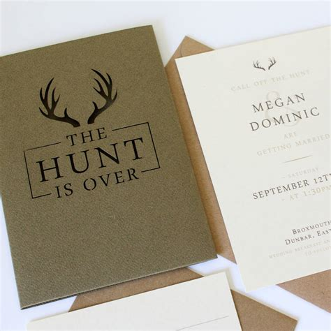 The Hunt Is Wedding Invitations