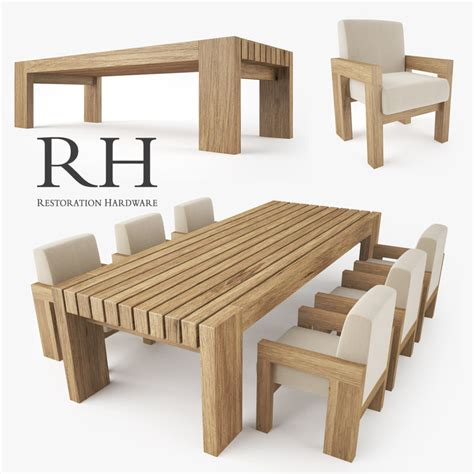 restoration hardware dining table restoration hardware bardenas dining table 3d model