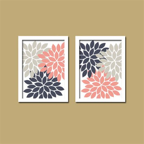 abstract bathroom wall art bold colorful pink navy gray grey floral from trm design