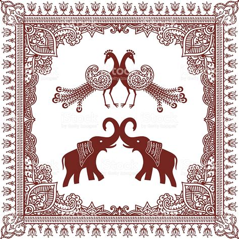 indian pattern frame mehndi border with peacocks and elephants stock vector art