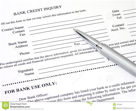 Credit Inquiry Form Bank Bank Credit Inquiry Form Stock Image Image 1213351