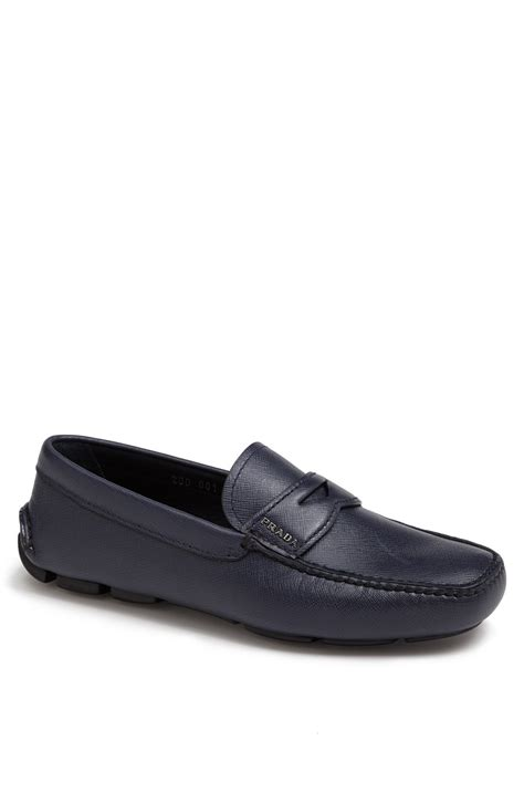 prada driving shoes prada saffiano driving shoe in blue for lyst