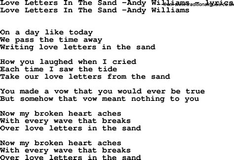 Letter In The Sand Lyrics Song Lyrics For Letters In The Sand Andy Williams