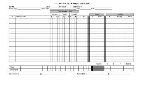 Hockey Report Card Template by Score Sheet For Hockey 2018