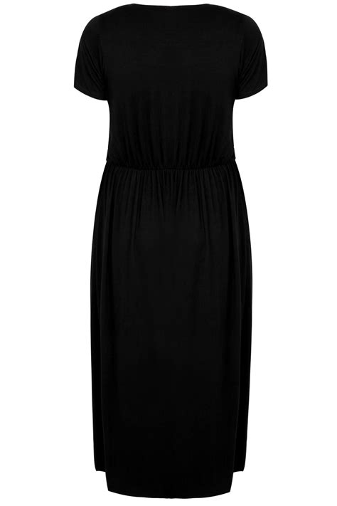 da form 4689 template black cap sleeved maxi dress with elasticated waist plus
