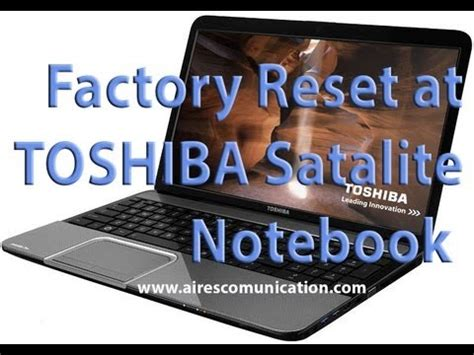 factory reset to toshiba satelite note book