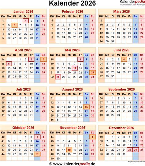 Kalender Mit Kw Und Feiertagen Kalender 2026 Mit Feiertagen Und Kalenderwochen