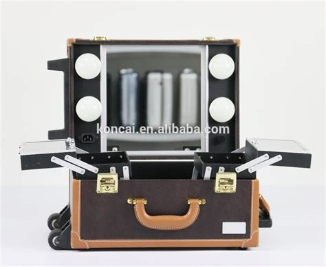 new design trolley makeup with lights makeup box