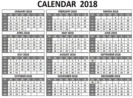 Calendar 2018 All Months 12 Month Printable Calendar 2018 From January To