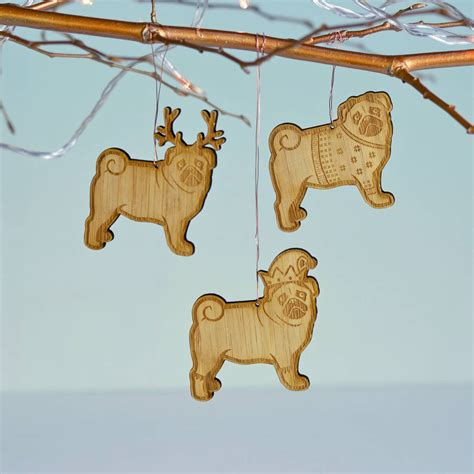 christmas pug bamboo tree decoration by oakdene designs