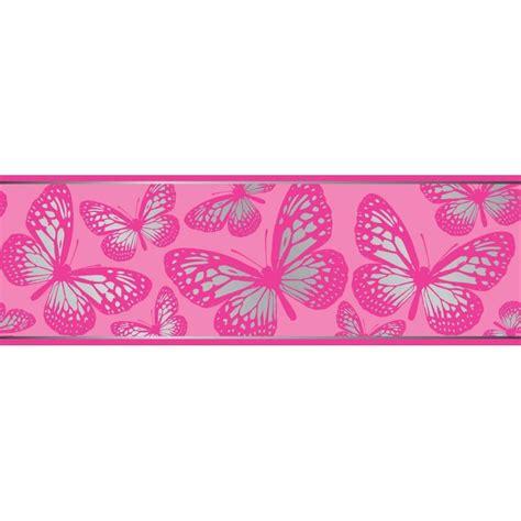 glitter wallpaper border uk fun4walls butterfly metallic wallpaper border pink and