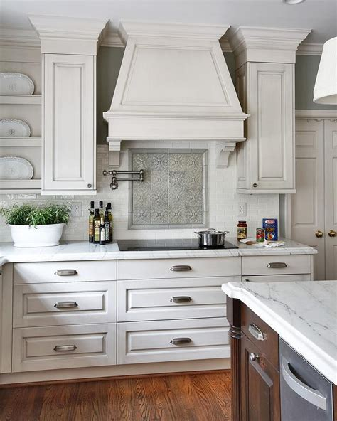 gray wash kitchen cabinets mosaic cooktop backsplash design ideas