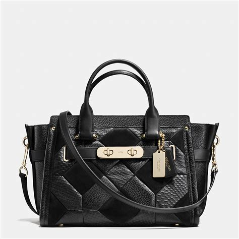 Coach Patchwork - coach swagger in patchwork pebble leather in metallic lyst