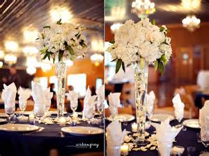 Yellow and grey wedding centerpieces