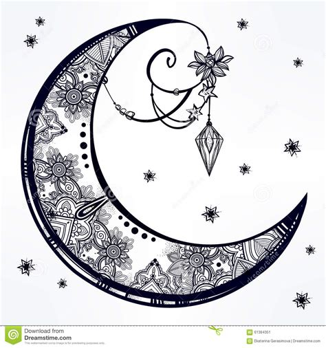 ornate crescent moon illustration stock vector image
