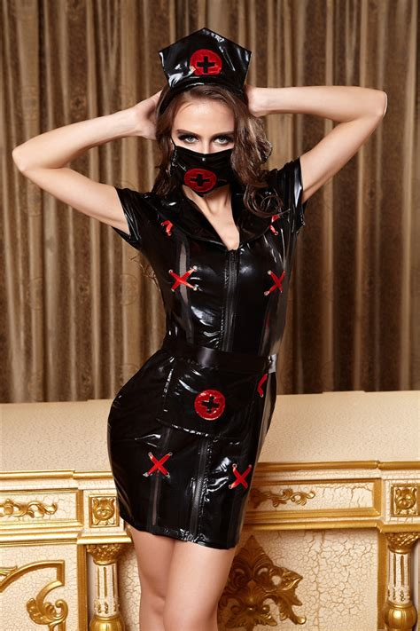 leather maids dress exclusive high quality adult women sexy black leather