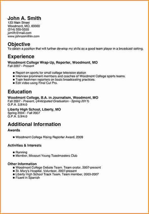 8 freshman college student resume exles invoice