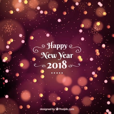 new year 2018 free vector happy new year 2018 background with bokeh effect vector
