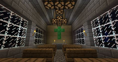 minecraft church the interior night time by