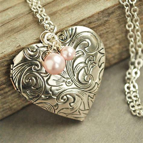 silver locket necklace locket pink pearl