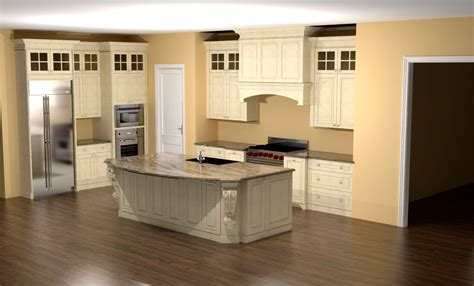 kitchen island corbels glazed kitchen with large island corbels and custom hood