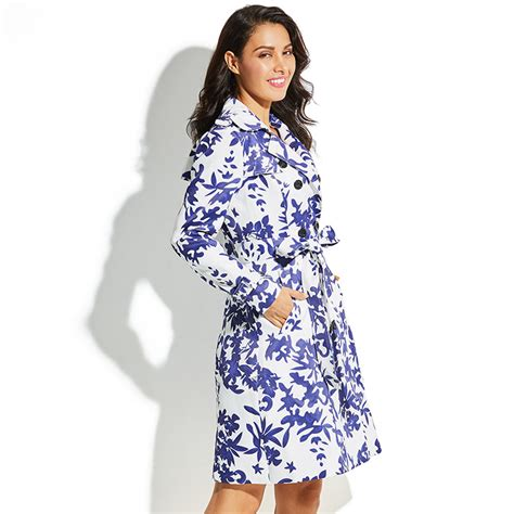 Notched Lapel Trench Coat s notched lapel breasted tiles floral print