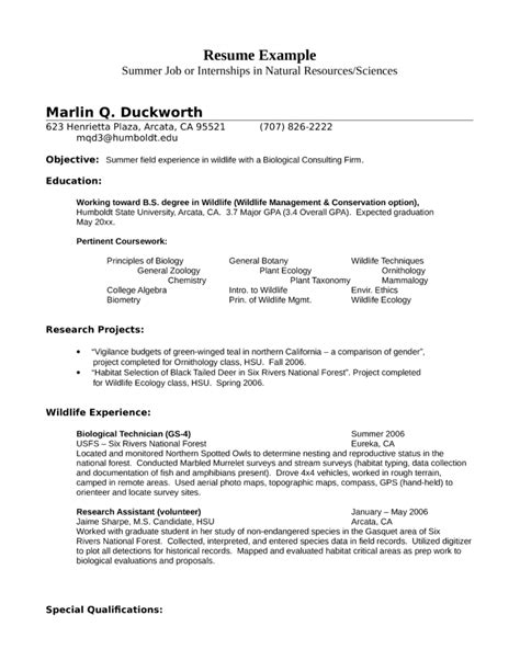 Resume Exles Biology Graduate Internship Wildlife Biologist Resume Exle Template