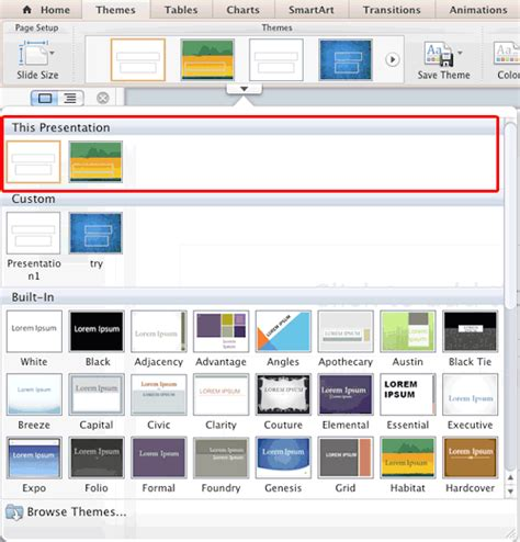 multiple themes in ppt identify the active theme in powerpoint 2011 for mac