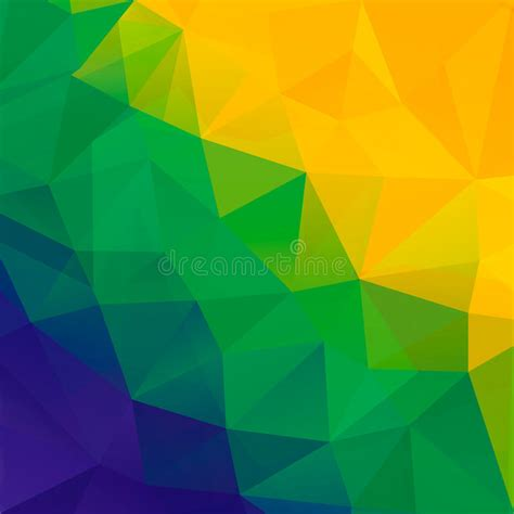 brazil colors abstract polygon background brazil flag colors stock