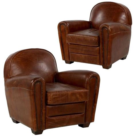 Distressed Leather Armchairs by Pair Of Deco Style Distressed Leather Club Armchairs