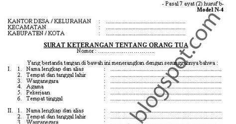 aneka info contoh surat keterangan tentang orang tua model n4