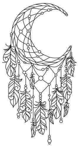 moon dream catcher drawings coloring pages tattoos