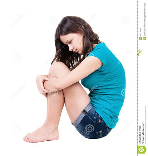 Curled Up On The by Lonely Closed Sitting On The Floor Stock Photo