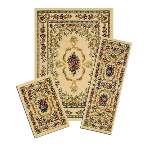 Area Rug And Runner Set Savonnerie Beige 3 Set Contains 5 Ft X 7 Ft Area Rug Matching 22 In X 59 In