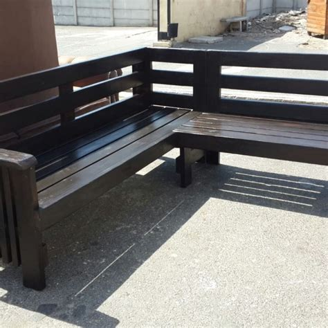 corner outdoor bench corner garden bench in ebony outdoor furniture