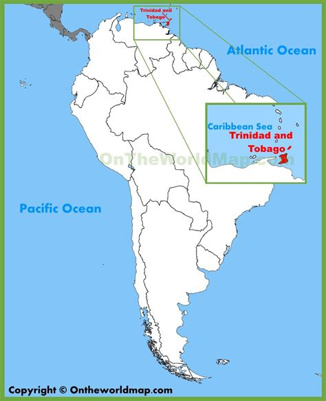 and tobago on the world map and tobago location on the south america map with