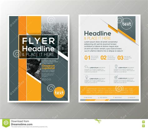 layout of flyer grey and orange geometric background poster brochure flyer