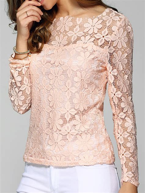 pink 5xl sleeve sheer lace blouse nastydress