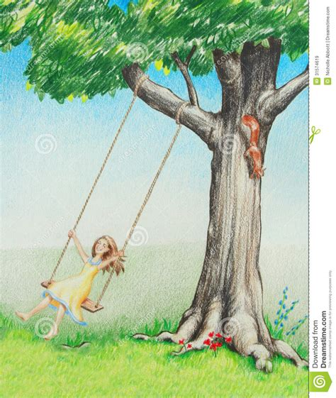 is swinging healthy happy smiling girl swinging on tree in nature royalty free