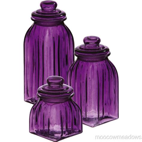 purple canister set kitchen new purple glass jars 3pc canisters kitchen decor storage violet home accent beautiful jars