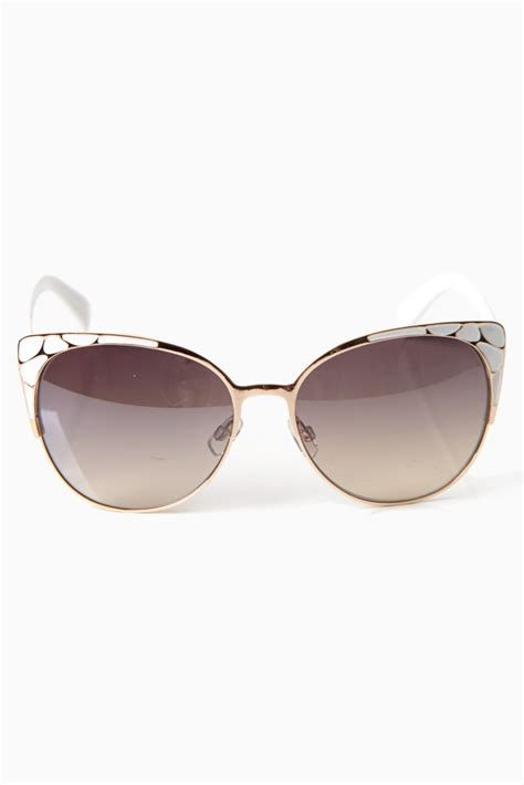 white printed accent cat eye sunglasses